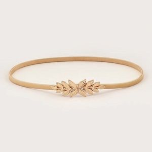 Gold Stretch Belt with Leaf Clasp Buckle